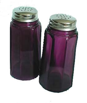 Salt and Pepper Shakers - Amethyst Glass Panel Pattern