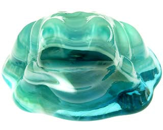 Glass Figurines: Light Blue & White Glass Frog Toad Paperweight