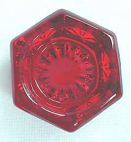 Ruby Red Cranberry Hexagonal Glass Salt Cellar