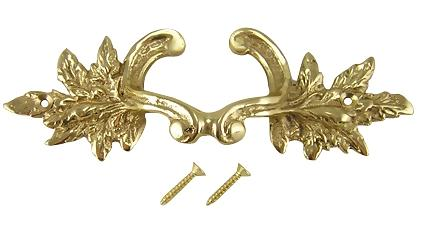 6 Inch Solid Overall (4 3/8 Inch c-c) Brass Ornate French Leaves Pull (Polished Brass Finish)