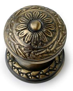 1 1/4 Inch Ornate Round Solid Brass Knob (Antique Brass Finish)