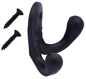 Solid Iron Double Hook (Matte Black Finish)