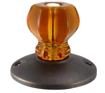 Art Deco Style Amber Glass Robe Hook (Bronze Finish)