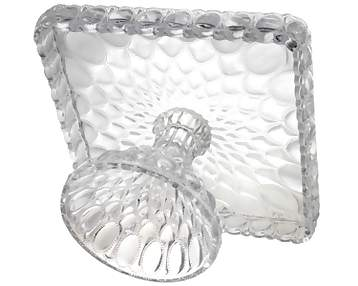 14 Inch Crystal Clear Glass Elizabethan Pedestal Cake Plate