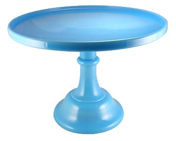 12 Inch Cake Plate (Blue Milk Glass)