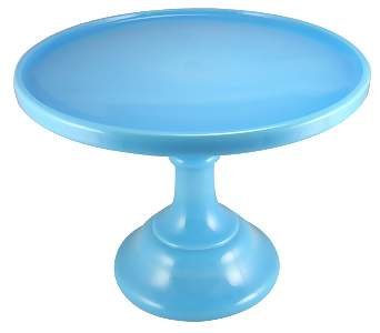 9 Inch Cake Plate (Blue Milk Glass)