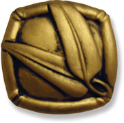 1 1/2 Inch Solid Pewter Oriental Knob: Bamboo Knob (Antique Gold Brass Finish)