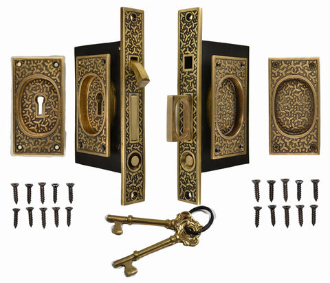 Rice Pattern Double Pocket Privacy (Lock) Style Door Set (Antique Brass)