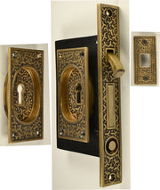 Rice Pattern Single Pocket Privacy (Lock) Style Door Set Antique Brass
