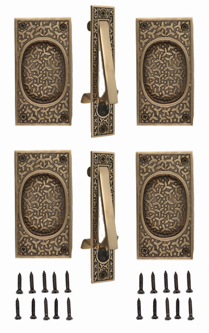 Rice Pattern Double Pocket Passage Style Door Set (Antique Brass)