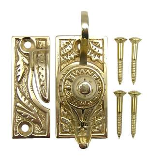 Oriental Pattern Solid Brass Sash Lock (Polished Brass Finish)