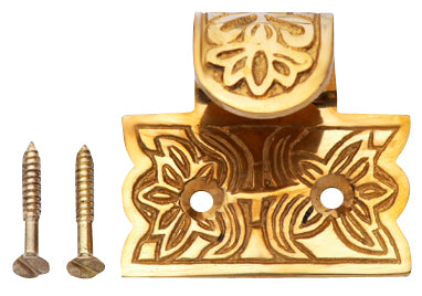 1 3/4 Inch Solid Brass Potted Flower Sash Lift (Polished Brass Finish)