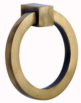 3 Inch Mission Style Solid Brass Drawer Ring Pull (Antique Brass)