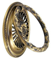 3 5/8 Inch Solid Brass Radiant Flower Drawer Ring Pull (Antique Brass)