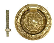 1 3/4 Inch Victorian Style Ring Pull (Polished Brass Finish)