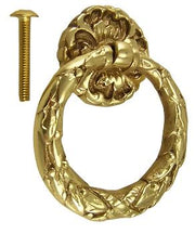 Solid Brass French Floral Drawer Ring Pull (Polished Brass)