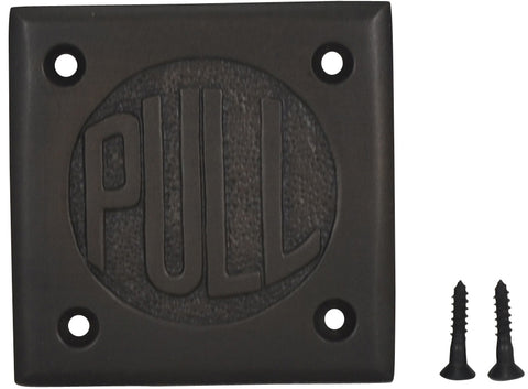"2 3/4 Inch Brass Classic American ""PULL"" Plate (Oil Rubbed Bronze Finish)"