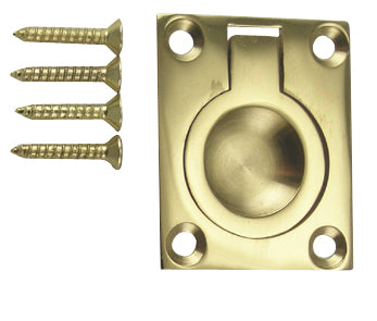1 3/4 Inch Solid Brass Traditional Flush Ring Pull (Polished Brass)