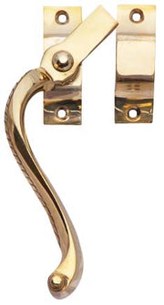 Solid Brass Right Hinge Window Lock Georgian Roped Pattern (Polished Brass Finish)