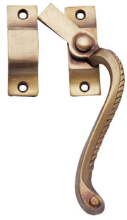Solid Brass Right Hinge Window Lock Georgian Roped Pattern (Antique Brass Finish)
