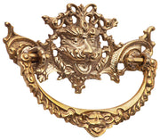 4 1/8 Inch Solid Brass  Rococo Gargoyle Bail Pull (Polished Brass Finish)
