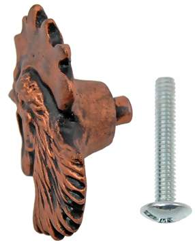 1 1/4 Inch Solid Pewter Chicken or Hen Knob (Left Facing, Antique Copper Finish)