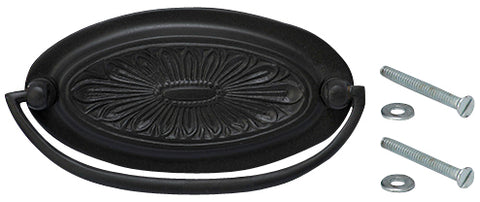 4 1/2 Inch Solid Brass Oval Drop Style Pull  (Oil Rubbed Bronze Finish)