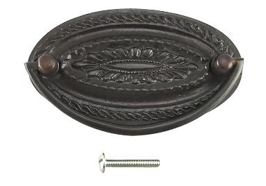 4 Inch Solid Brass Oval Drop Style Pull (Oil Rubbed Bronze Finish)