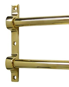 36 Inch Solid Brass Double Push Bar (Polished Brass Finish)