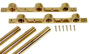 36 Inch Solid Brass Triple Push Bar (Polished Brass Finish)