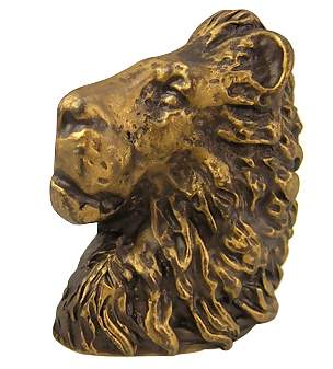 2 1/2 Inch Solid Pewter Lion Head Knob (Antique Gold Finish)