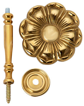 2 7/8 Inch Wide Solid Brass Curtain Tie Back - Large Flower Button (Polished Brass Finish)