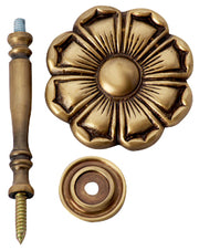 2 7/8 Inch Wide Solid Brass Curtain Tie Back - Large Flower Button (Antique Brass Finish)