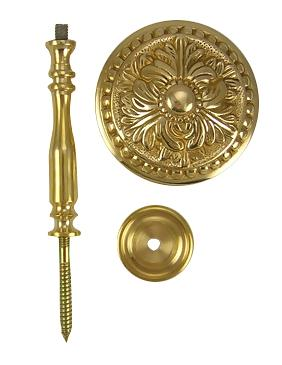Solid Brass Curtain Tie Back - Large Baroque Button Style (Polished Brass Finish)