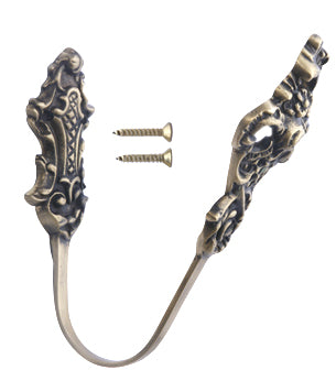 Solid Brass Curtain Tie Back - Baroque Style (Antique Brass Finish)