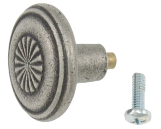 1 1/4 Inch Solid Pewter Cerrito Style Knob (Matte Pewter Finish)