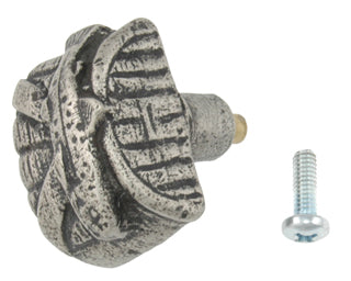 1 1/2 Inch Solid Pewter Creel Fish Knob (Matte Pewter Finish)