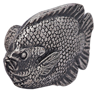 2 Inch Ocean Seaside Nautical Solid Pewter Decorative Large Fish Knob (Satin Pewter Finish)