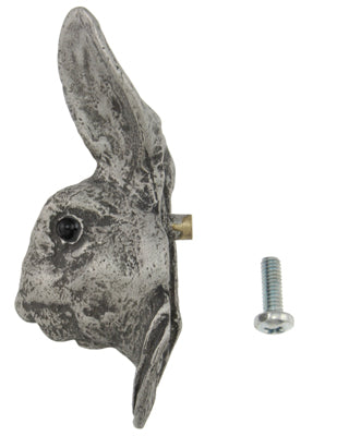 3 Inch Solid Pewter Rabbit or Hare Knob (Matte Pewter Finish)
