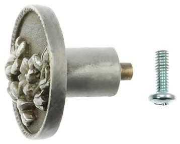 1 7/8 Inch Solid Pewter Orchid Flower Knob (Right Facing, Pewter Bronze Wash Finish)