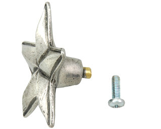2 1/4 Inch Solid Pewter Texas Star Knob (Bright Pewter Finish)