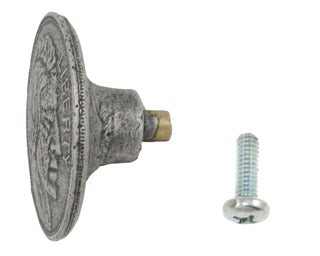 1 1/2 Inch Large Solid Pewter Indian Head Knob (Matte Pewter Finish)