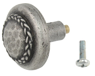 1 1/2 Inch Solid Pewter Bandolier Knob (Matte Pewter Finish)
