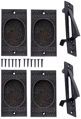 Broken Leaf Double Pocket Passage Style Door Set (Oil Rubbed Bronze)