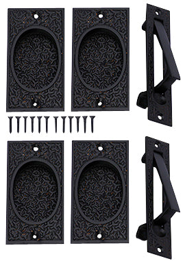 Rice Pattern Double Pocket Passage Style Door Set (Oil Rubbed Bronze)