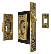 Craftsman Pattern Single Pocket Privacy (Lock) Style Door Set (Antique Brass)
