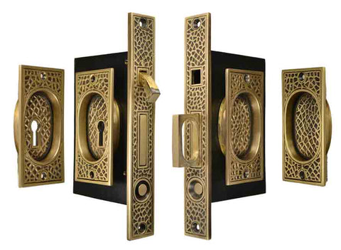 Craftsman Pattern Double Pocket Privacy (Lock) Style Door Set (Antique Brass)