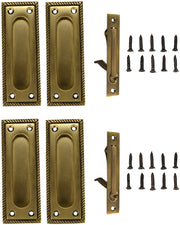 Georgian Square Double Pocket Passage Style Door Set (Antique Brass Finish)