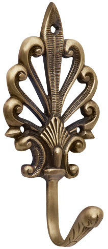 Art Deco Fleur De Lis Solid Brass Robe Hook (Antique Brass Finish)