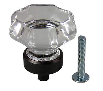 1 3/8 Inch Crystal Octagon Cabinet Knob (Oil Rubbed Bronze Base)